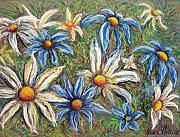 Drawing Pastels Originals - Daisies Pastel by Nancy Mueller