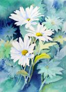 White Painting Metal Prints - Daisies Metal Print by Sam Sidders