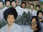 Black History Paintings - Daisy Bates and the Little Rock Nine Tribute by Angelo Thomas