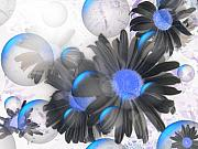 Negative Mixed Media Posters - Daisy Bubbles Poster by Roxy Riou