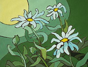 Sun Rays Paintings - Daisy Dance by Sandy Tracey