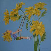 Child Swinging Paintings - Daisy Days by Karen Ilari