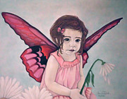 Flower Pink Fairy Child Posters - Daisy Fairy Poster by Annie Seddon