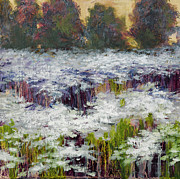 Drippy Painting Prints - Daisy Field Print by Vic  Mastis