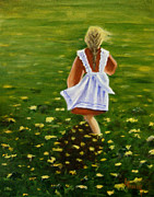 Field Of Flowers Paintings - Daisy by Linda Hiller