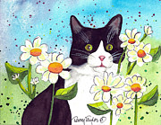 Black And White Cats Paintings - Daisy M. Tuxedo by Terry Taylor