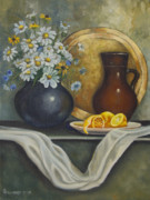 Pottery Pitcher Painting Prints - Daisy Stillife With Oranges Print by Ann Arensmeyer