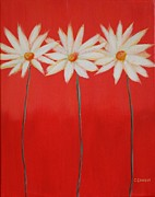 Daisy Trio - Red Print by Cheryl Sameit