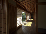 Shogun Photo Prints - Daitoku-ji Zen Temple Veranda - Kyoto Japan Print by Daniel Hagerman