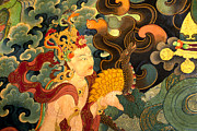 Painted Hall Photos - Dakini with Nagas - Sera Monastery Tibet by Craig Lovell