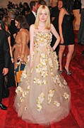 Strapless Dress Prints - Dakota Fanning Wearing A Dress Print by Everett