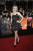 Satin Dress Prints - Dakota Fanning Wearing A Valentino Print by Everett