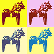 Warhol Photo Posters - Dala Horse Pop Art Poster by Marianne Beukema
