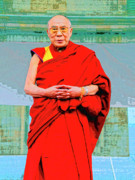 Tibet Mixed Media Prints - Dalai Lama Print by Dominic Piperata