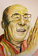 Lama Painting Framed Prints - Dalai Lama Framed Print by Jennie Smallenbroek
