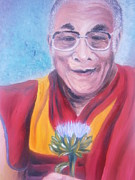 Lama Painting Framed Prints - Dalai Lama-Peace and Harmony Framed Print by Bj A