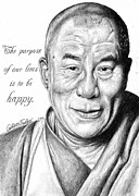 Buddhism Drawings Acrylic Prints - Dalai Lama Portrait Acrylic Print by Colleen Trillow