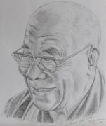 Tibet Drawings Framed Prints - Dalai Lama Framed Print by Sabina Bonifazi