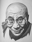 World Leader Drawings - Dalai Lama by Scott Ritchie