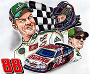 Dew Drawings Posters - Dale Earnhardt Jr. - #88 Poster by Dave Olsen