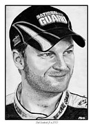 Athlete Drawings Posters - Dale Earnhardt Jr in 2009 Poster by J McCombie