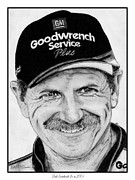 Grayscale Drawings - Dale Earnhardt Sr in 2001 by J McCombie