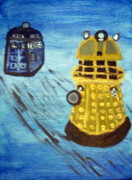 Dr Who Paintings - Dalek on Blue by Elizabeth Arthur