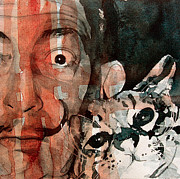 Watercolor  Paintings - Dali and his cat by Paul Lovering