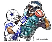 Michael Vick Framed Prints - Dallas Cowboy DeMarcus Ware - Philadelphia Eagles Michael Vick Framed Print by Jack Kurzenknabe