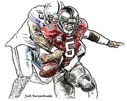 Dallas Cowboys Digital Art Metal Prints - Dallas Cowboys Anthony Spencer - Tampa Bay Buccaneers Josh Freeman Metal Print by Jack Kurzenknabe