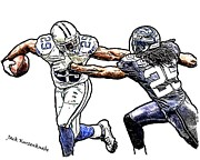 Seahawks Posters - Dallas Cowboys DeMarco Murray - Seattle Seahawks Richard Sherman Poster by Jack Kurzenknabe