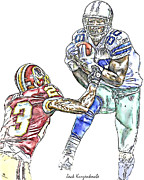 Bryant Prints - Dallas Cowboys Dez Bryant Washington Redskins DeAngelo Hall Print by Jack Kurzenknabe