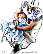 Dallas Cowboys Digital Art Metal Prints - Dallas Cowboys Felix Jones - Detroit Lions Amari Spievey Metal Print by Jack Kurzenknabe