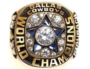 Championship Ring Framed Prints - Dallas Cowboys First Super Bowl Ring Framed Print by Paul Van Scott