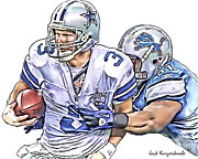 Dallas Cowboys Digital Art Metal Prints - Dallas Cowboys Jon Kitna - Detroit Lions Sammie Lee Hill Metal Print by Jack Kurzenknabe