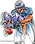 Austin Digital Art Posters - Dallas Cowboys Miles Austin - Philadelphia Eagles Joselio Hanson Poster by Jack Kurzenknabe