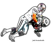 New York Jets Prints - Dallas Cowboys Sean Lee - New York Jets Santonio Holmes Print by Jack Kurzenknabe