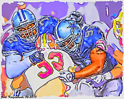Dallas Cowboys Digital Art Metal Prints - Dallas Cowboys Stephen Bowen and Anthony Spencer Metal Print by Jack Kurzenknabe