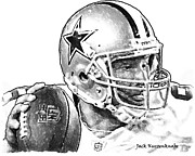 Dallas Cowboys Digital Art Metal Prints - Dallas Cowboys Tony Romo Metal Print by Jack Kurzenknabe