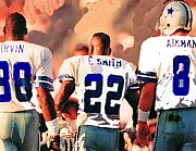 Football Game Mixed Media Prints - Dallas Cowboys Triplets Print by Paul Van Scott