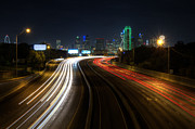 Light Trails Framed Prints - Dallas Night light Framed Print by Jonathan Davison