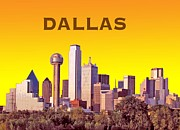 Dallas Skyline Digital Art Prints - Dallas Skyline Print by Michael Chatman