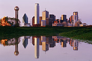 Floodplain Framed Prints - Dallas Skyline Reflected in Pond at Dusk Framed Print by Jeremy Woodhouse