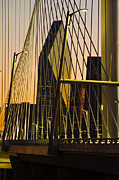 Designer Framed Prints - Dallas Through Bridge Framed Print by David Clanton