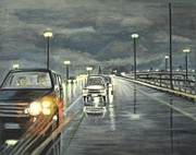 Wet Fly Painting Prints - Dallas Traffic Print by Usha Shantharam