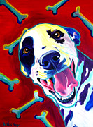 Custom Dog Portrait Paintings - Dalmatian - Yum by Alicia VanNoy Call