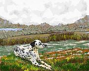 Dalmation Digital Art Posters - Dalmation Landscape Poster by Tony Rodriguez