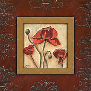 Scrolls Prints - Damask Poppies 1 Print by Debbie DeWitt