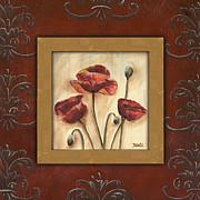 Scrolls Prints - Damask Poppies 2 Print by Debbie DeWitt