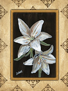 Green Painting Framed Prints - Damask White Floral 1 Framed Print by Debbie DeWitt